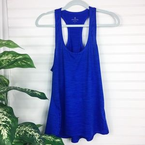 Athleta Blue Shadow Stripe Chi Racerback Tank